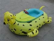 Easy Operate Inflatable Dog Bumper Boat in Yellow Color with Black Dots