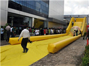 All Yellow Giant Inflatable Zorb Ball Ramp Race Track for Sale